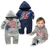 Hot Selling UK US National flag Baby Hoody Romper baby kids romper boys' long sleeved cotton romper  3pcs/lot