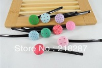 Free Shipping 2013 Wholesale 100pcs/lot fashion baby girl's hair accessories buttons dot the a word hair clip hairpin