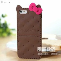 1PCS,2013 Fashion Cute 3D Hello Kitty biscuit cookie lovely soft silicone back case cover for iPhone 4 4S 5 5S,Free Shipping
