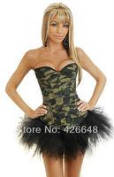 sexy lingerie army green camo overbust corset/bustier black tutu dress S/M/L/XL/XXL