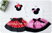 SH261 Retail Summer New Children Girl's 2PC Sets Skirt Suit Minnie Mouse baby Clothing sets dots skirt dots pants girls clothes