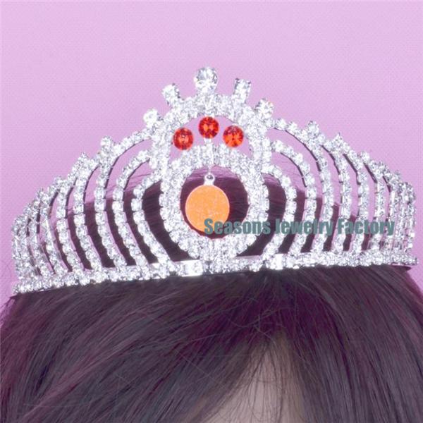 Factory Wholesale Pageant Crown Princess Sash Trophies Silver Tiara CR142 Orange(China (Mainland))