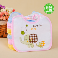 Bib leak-proof bibs infant waterproof lacing 100% cotton rice pocket cartoon bib