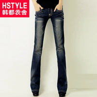 Free Shipping Hstyle 2013 autumn women's bell-bottom jeans elastic ho1348