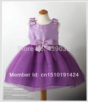 SH204 Free shipping children girl princess lace dress bow purple color girl's dresses Purple Dress Retail