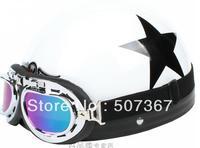 All white black star Harley helmets motorcycle helmets motorcycle helmet send goggles brim