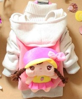 Free shipping girl cartoon cotton full sleeve coat kids character down jacket long sleeve tops cotton-padded clothes tees hat