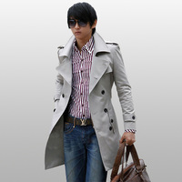 2013 male trench fashion slim outerwear autumn solid color turn-down collar trench medium-long outerwear