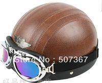 998-1 n7 coffee leather electric motorcycle helmet