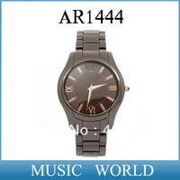 Free shipping 2013 Christmas Gift! AR 1444 quartz water resistant ceramic black round mens wrist watch AR1444 + original box