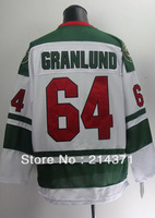 Free shipping -  2014  New Style  64  Mikael Granlund  White  Authentic   Ice Hockey  Jersey  size: 48-56  Mix Order