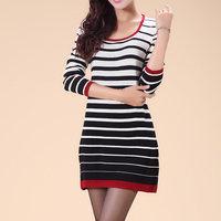 Autumn missports navy stripe sweater medium-long one-piece dress quality sweater