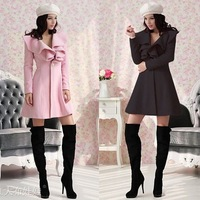 2013 Winter Women's Long style Ruffle Flounced Neck Slim Woolen Coat Skirt Style Wholesale! Drop Shipping Support!
