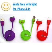Drop shipping 5pcs Wholesale 100cm USB Data Cable For iPhone 4 4s Flat LED Light Smile Face Sync Charge Cable Cord