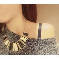 Min. order is 9usd(mix order)NEW Style Fashion Vintage Irregular Geometric Figure Color Block Short Chain Design Necklace