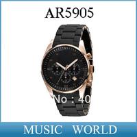 Free shipping New Mens AR 5905 Black and Gold Chronograph Watch AR5905 CHRONOGRAPH WRIST WATCH +Original Box