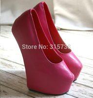 Dropshipping by DHL,Handmade Custom Pink Color  20CM Heelless women high heels platform pumps,nude pumps