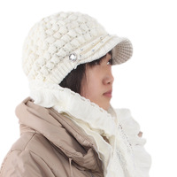 Autumn and winter warm short brim women's thermal double layer knitted hat knitted yarn cap sleeve sparkling diamond hat