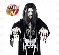 1 set Halloween costume dress masquerade performances ghost skeleton ghost clothes + gloves + mask Sadako