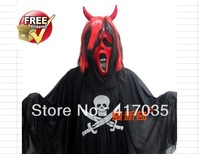 1 set Masquerade Halloween costumes pirate ghost ghost clothes + clothing sickle red hair screaming + Horns