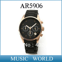 Free shipping NEW Gold-Tone Black Dial Women's Watch AR5906 CHRONOGRAPH WRIST WATCH Ladies AR 5906 Wristwatch + Original box
