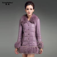 2013 fox fur sheepskin genuine leather slim medium-long down  free DHL shipping