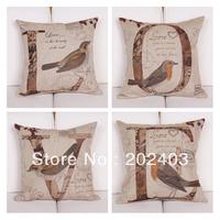 Vintage Style 45x45cm Letter L. O. V .E for Love Bird Pattern Pillow Cover Cushion Cover 4pcs/1Set
