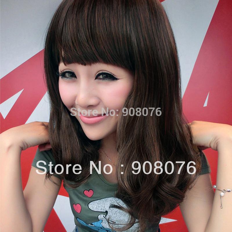 Best selling! Fashion female wigs stubbiness pear light brown sweet neat bangs kinkiness wig Free shipping(China (Mainland))
