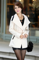 2013 women's slim overcoat medium-long turn-down collar waist belt office lady winter elegant outfit free shipping
