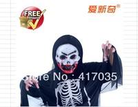 1 set Masquerade Costume Halloween costume skull skeleton ghost clothes + mask + black nails bloody skull