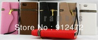 Crocodile Leather Wallet Clutch Bag Purse Mobile Phone Case Cover for iphone 5, 300pcs/lot  ,free shipping