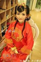 Original handmade wedding Chinese bridal hairpin headdress cheongsam golden dragon costume hair accessories free shipping