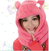 Hot Sale Warm winter supplies Lady scarf  Cute stuffed bear head Scarf + hat  4Color 1pc