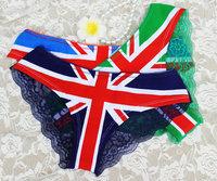 PINK  Wholesale EN Flag Print Panties Sexy Pure Cotton Back Lace Women's Briefs VS Low Rise Panty Thong