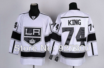 NHL Los Angeles Kings Dwight King #74 White Road LA Ice Hockey Jerseys Authentic On Field Jersey Free Shipping
