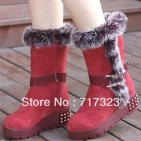 Free shipping High quality hot selling brand of rabbit hair high boots,2013 new arrival warm winter women genuine leather boots