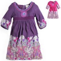 Limited edition 2013 autumn female child fashion monsoon beading three quarter sleeve one-piece dress