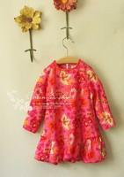 Monsoon 2013 autumn female child pink print long-sleeve dress