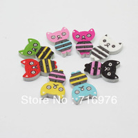 Free Shipping Free Shipping 100 Pcs Random Mixed Cartoon Cat Pattern Painting 2 Holes Wood Buttons 16x11mm(W02259)
