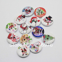 Free Shipping 100 Mixed Multicolor 2 Holes Christmas Wood Sewing Buttons Scrapbooking 15mm Knopf Bouton(W02264)