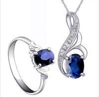 Jewelry sets,sapphire gems pendants,rings,earrings,sterling silver 925,wedding gift,SP0170S SR0205S