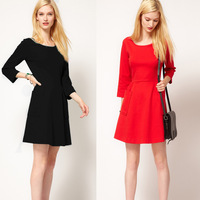 Autumn 2013 New Fashion Womens Three Sleeve Red Black Dress Knitted Solid Big Pockets Dresses for Women Ladies Free Shipping