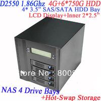 Network NAS server 4 drive bay hot-swap with LCD front panel Intel dual core D2550 4G RAM 6*750G HDD 2*RJ45 HDMI VGA esata
