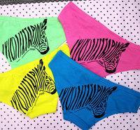 PINK  Wholesale Sexy Zebra Print Women's Briefs VS Ruching Low Rise Cotton Panty Thong