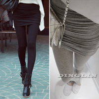 Fashion Women Ladies Hip Hop Cotton Pleated Stretch Slim Fit Solid Pant Skinny Trouser Legging Black Gray S Free Shipping 01058