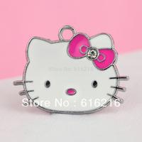 K92b  2015 Fashion hot Style 10 pcs  Alloy Hello Kitty Hot Pink Bow Charms Pendants