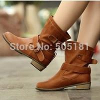 Free Shipping NEW Arrival Women's  Waterproof Leather Low Heel Ankle Boot Shoes KE087
