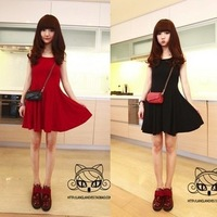 2013 new arrival women's spring-winter wardrobe tank dress female sleeveless chiffon dress Free shipping