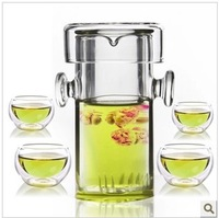 FREE SHIPPING+ Coffee & Tea Sets +240ml glass flower teapot +4 Double-wall Cup + PIAOYi FCB002