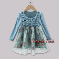 2013 New Girls Flower Dresses Kids Cotton Rose Dress Christmas Wear Baby Infant Princes Dress  Hot Sellers GD31011-12